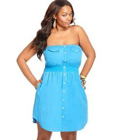 American Rag Plus Size Dress, Strapless Shirtdress