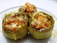 Alcachofas con salmón y queso fresco