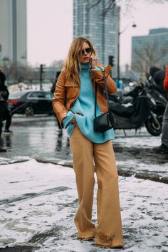 Camel jacket and trousers with turquoise top