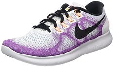 NIKE Women's Wmns Free RN 2017, Off White/Black-Hot Punch, 8 US
