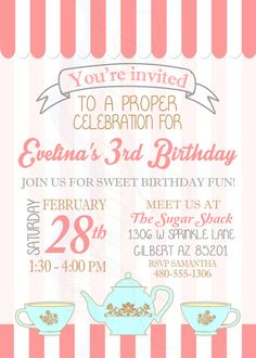 Printable Tea Party Birthday Invitation / by RiverMamasDesigns
