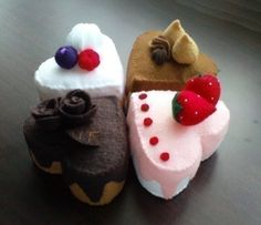 Felt Heart-Shaped Cakes - VALENTINES (Patterns and Instructions via Email). $5.00, via Etsy.