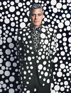 George Clooney by Yayoi Kusama for W Magazine's Art Issue