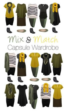 Capsule Wardrobe: Olive and Mustard by mary-grace-see on Polyvore. Autumn 2016, fall 2016, fashion, outfits, mix and match, modest, skirts, classy, classic, scarfs, cardigan, army green, brown, camel
