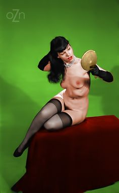oldiznewagain: Bettie Page with a mirror (colorized)
