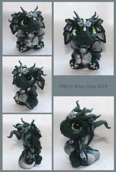 Green And Silver Baby Dragon by BittyBiteyOnes.deviantart.com on @deviantART