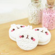 Polymer clay oreo bunny cookies