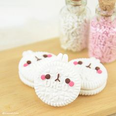 Polymer clay oreo bunny cookies