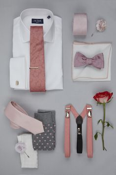 The perfect Shirts, Ties and Accessories for a pink color-themed wedding, starting at $8 at www.TheTieBar.com