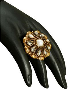 RENT : Antique Designer Finger Ring.  A floral design inspired antique finger rings decorated with polki stones and pearls over the adjustable rings to give a classy look.