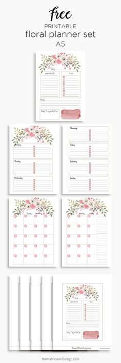 Pink floral planner calendar inserts   A5 and Personal – Hanna Nilsson Design