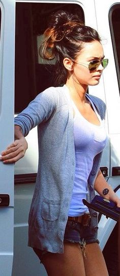 Shorts, brown belt, grey/neutral cardigan, tank top/sleeveless top (Megan Fox)