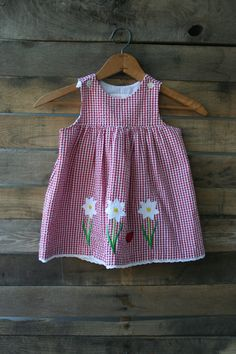 Vintage Red & White Floral and Gingham Dress Size 24 by vintapod
