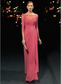 Gorgeous Chiffon & Stretch Satin Bateau Neckline Floor-length Sheath Evening Dresses with Beadings & Rhinestones