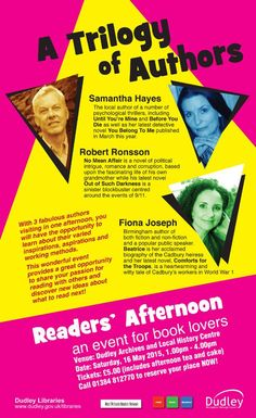 This was a fab afternoon with writing friends Rob Ronsson and Samantha Hayes. Thanks to Dudley Libraries for supporting this event.