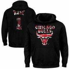Majestic Derrick Rose Chicago Bulls Camo Player Pullover Hoodie - Black