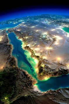 Seen from Outer Space - Amazing picture of beautiful Saudi desert with cities big and small glistening in the night.