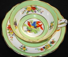 Star PARAGON Hand Painted BIRD GREEN/ WHITE