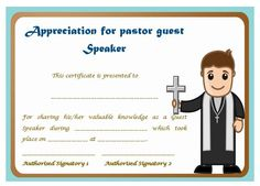 Pastor appreciation day certificate pastor appreciation certificate of appreciation for pastor guest speaker yadclub Choice Image