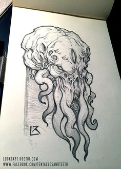 cthulhu tattoo * cthulhu + cthulhu tattoo + cthulhu mythos + ctmh cards + cthulhu art + ctmh spruced up + ct scan + ct Cthulhu Art, Cthulhu Tattoo, Lovecraft Cthulhu, Hp Lovecraft, Art Sketches, Art Drawings, Tattoo Drawings, Drawing Faces, Arte Horror