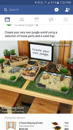 Sensory table jungle extension Have it all set up and let each child make one/play and show them off to parents at pick-up Preschool Jungle, Preschool Rooms, Preschool Classroom, Jungle Crafts, Jungle Theme Classroom, Play Based Learning, Learning Centers, Early Learning, Sensory Table