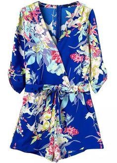 Shop Blue V Neck Floral Tie-Waist Jumpsuit online. Sheinside offers Blue V Neck Floral Tie-Waist Jumpsuit & more to fit your fashionable needs.