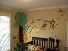 Tierwelt im Kinderzimmer Wandgestaltung Ideen Wildlife in the nursery wall design ideas Jungle Baby Room, Jungle Theme Nursery, Dinosaur Nursery, Nursery Themes, Safari Theme, Nursery Ideas, Nursery Murals, Nursery Paintings, Wall Paintings