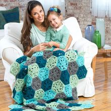 Red Heart® Super Saver® Hexagon Flower Crochet Throw