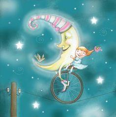 Marsela Hajdinjak - moon and little girl riding a unicycle