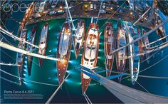 - Spectacular Shot - Photograher Rick Tomlinson had to hang inverted nearly 60 metres above the deck of the ketch Drumbeat to capture this spectacular shot of the Loro Piana Superyacht Regatta fleet in Porto Cervo. Luxury Sailing Yachts, Greek Sea, Guest Cabin, Sail Away, Birds Eye View, Greatest Adventure, Catamaran, Water Crafts, Fast Cars