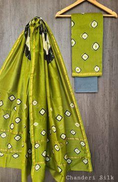 Price Rs 1600 + Shipping extra Hand block Printed chanderi silk dress materials Top and dupattas chanderi silk (2.50×2 mtrs) Bottom cotton (2.50 meters) Chanderi Suits, Chanderi Silk Saree, Churidar Suits, Anarkali Suits, Silk Sarees, Patiala, Salwar Kameez, Silk Suit, Exclusive Collection