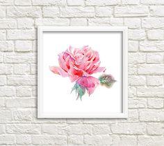 Pink Rose Art Print Watercolor Roses Flower art от DariyPrintJulia