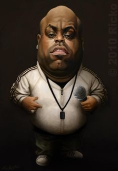 Ceelo Green by Jak-Lemonnier Funny Caricatures, Celebrity Caricatures, Caricature Artist, Funny Character, Funny Illustration, Funny Cartoons, Funny Art, Funny Faces, Cartoon Characters