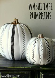 Washi Tape Pumpkins DIY from Lil Luna. So sophisticated with a white background.