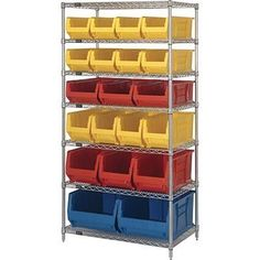 """Quantum Storage Systems WR7-20-MIXRD 7-Tier Complete Wire Shelving System with 8 QUS950, 3 QUS952, 4 QUS951, 3 QUS953 and 2 QUS954 Red Hulk Bins, Chrome Finish, 24"""" Width x 36"""" Length x 74"""" Height by Quantum. $849.99. Genuine Quantum modular wire systems"""