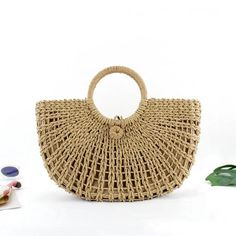 Handmade womens straw bag/tote, lightweight, ideal for summertime. There are 2 colors can be choosed : Beige( light color), little brown(a little dark color) Size: Top handle Summer Handbags, Straw Handbags, Dark Colors, Light Colors, Little Brown, Straw Tote, Style Wish, Crochet Purses, Casual Bags