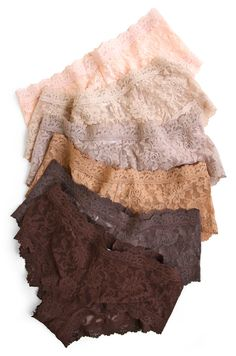 Hanky Panky Signature Lace Boyshorts in a spectrum of neutral hues. From top: Vanilla, Chai, Taupe, Suntan, Cappuccino, and Chestnut #nudeisnotacolor