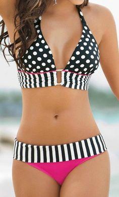 Biquini Retro Brazilian Swimsuit Stripe Dotted Women Vintage Bikini Swimsuit Plus size Swimwear Lace-up Bathing Suit Praia Maio Sexy Bikini, Bikini Rose, Haut Bikini, High Leg Bikini, Bikini Swimwear, Swimwear Fashion, Bandeau Bikini, Swim Suits Bikinis, Sequin Bikini