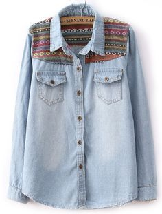 Contrast embroidery denim blouse