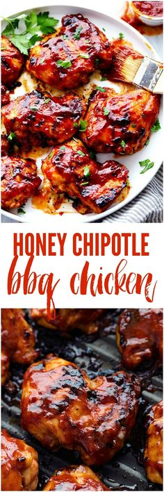 Honey Chipotle BBQ Chicken Honey Chipotle BBQ Chicken is sweet and tangy and the chipotle adds such a flavorful kick! You are going to love everything about this sauce and it will be a hit at your next gathering! Grilling Recipes, Cooking Recipes, Smoker Recipes, Cooking Time, Crockpot Recipes, Good Food, Yummy Food, Gula, Le Diner