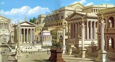 Italy: Rome--Reconstruction of Forum Romanum. From left: Temple of Julius Caesar, Round Temple of Vesta, Temple of the Dioscuri and corner of Basilica Julia with Honorary Columns in front. Background: Palace of Caligula. Roman Architecture, Historical Architecture, Ancient Architecture, Ancient Rome, Ancient Greece, Ancient History, Roman Republic, Empire Romain, Roman History