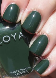 "The PolishAholic - Zoya Fall 2013 Cashmere Collection Swatches - ""Hunter is a dark green creme. The formula was good, it was a little patchy on the first coat but perfect with the 2nd coat. I used 2 coats for the photos below."""