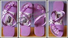 •⊰✿ Simone Bordados .•⊰✿: havaiana lilas com strass e fitas