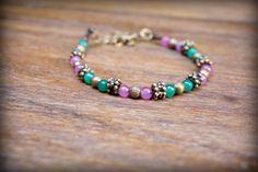 Colorful Beaded Bracelet with Natural Stone - Boho Bracelet - Beach Style - Hippie Bracelet - Bohemian Bracelet