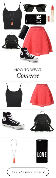 """""""Lacey Skater"""" by jilld727 on Polyvore featuring LE3NO, Topshop, Converse, Ray-Ban, Rebecca Minkoff, Givenchy, NARS Cosmetics and L'Oréal Paris"""