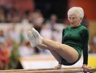 World's oldest gymnast Johanna Quaas. As of this writing (2012), she is 86. Yes, EIGHTY SIX.
