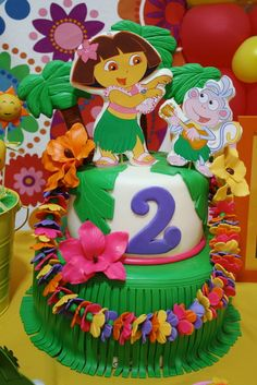 Gorgeous cake at a Dora the Explorer Birthday Party! See more party ideas at CatchMyParty.com!