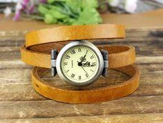 Vintage style wrist watch women s watch 3 circles leather watch men s watch.