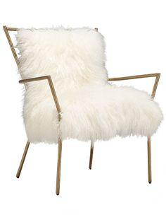 Ansel Chair Brass – Tibetan Fur, $1375, Mitchell Gold & Bob Williams