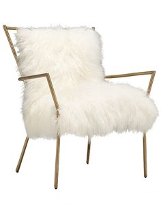 Ansel Chair Brass – Tibetan Fur, $1375, Mitchell Gold & Bob Williams